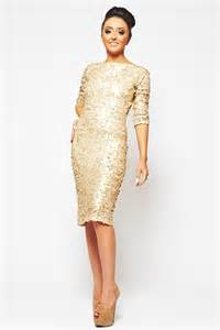 sequin dress koo ture matte gold large sequin 3 4 sleeved midi dress from dollywood boutique uk