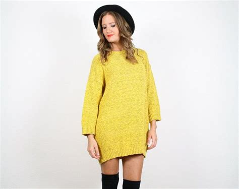 80s L by Vintage Bright Yellow Sweater Dress 80s L Xl Gold Black