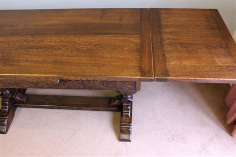 Farmhouse Dining Table With Leaves Oak Refectory Draw Leaf Farmhouse Dining Table Antiques Atlas