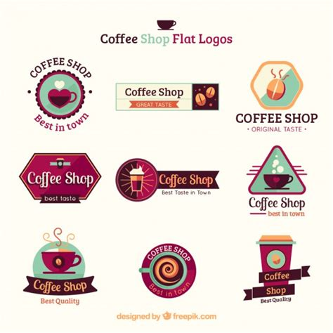 best color shoo coffee shop flat logo collection vector free