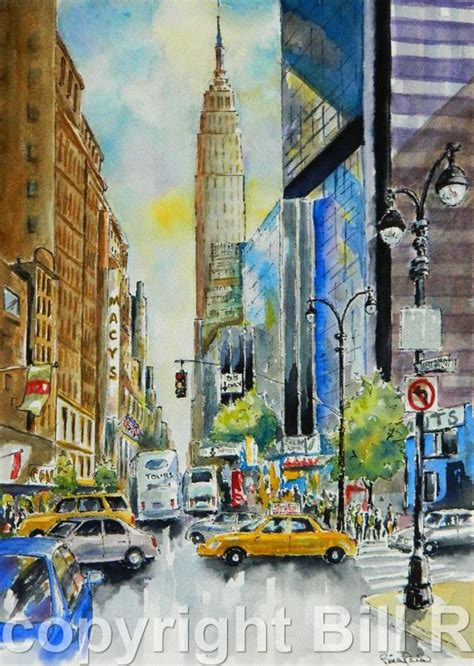home decor new york city watercolor by billsartshop