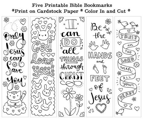 Printable Bible Bookmarks To Color | five instant printable color in cute bible bookmarks