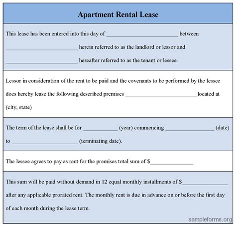 apartment rental agreement template image apartment rent lease agreement