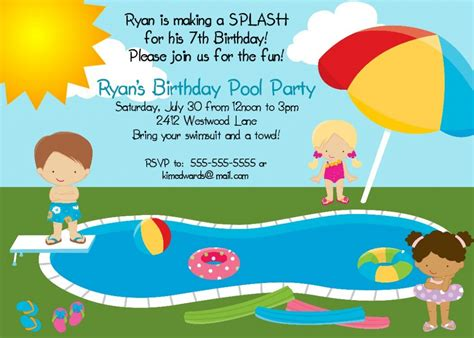 printable birthday invitations pool party free printable pool party invites for kids pool