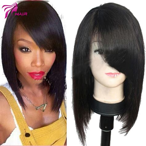 bob wigs human hair black women virgin brazilian human hair full lace wig with bangs for