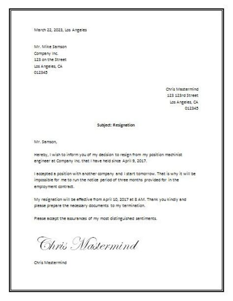 sample resignation letter template word business letter