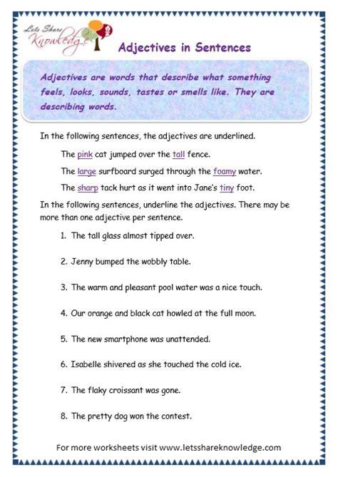 Adjectives Worksheets For Grade 3