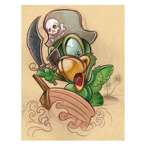 tattoo new school art pirate bird by jime litwalk tattoo art print new school