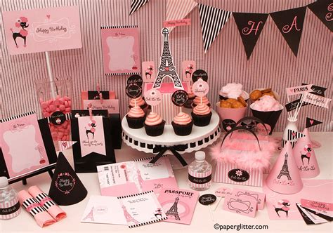 paris themed party kit paper glitter cute downloads printables paper crafts