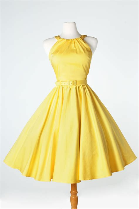 yellow swing dress harley dress 1950s pinup gril vintage sexy halter swing