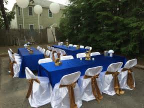 Simple table decor royal blue , gold and white   Royal prince Baby Shower   Pinterest   Blue