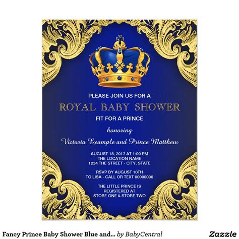 Fancy Prince Baby Shower Blue And Gold Invitation Pinterest Gold Crown Boy Baby Showers And Free Royal Prince Baby Shower Invitation Template