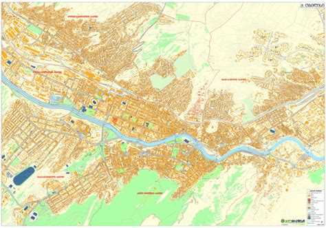 tbilisi map geographic address map of tbilisi centre 1 50x2 20 cm