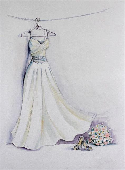 braut zeichnen braut kleid aquarell skizze mit bouquet und braut schuhe