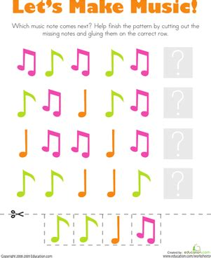 pattern songs kindergarten patterns music notes music notes worksheets and note