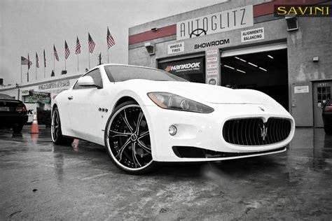 maserati granturismo white black rims granturismo savini wheels
