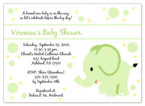 baby elephant green baby shower invitations