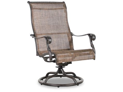 Swivel Sling Patio Chairs Screen Back Aluminum Sling Swivel Rocker In Brown Mathis Brothers Furniture