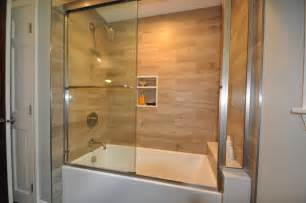 Bathroom Tub Surround Tile Ideas Plank Tile Tub Surround Contemporary Bathroom Boston