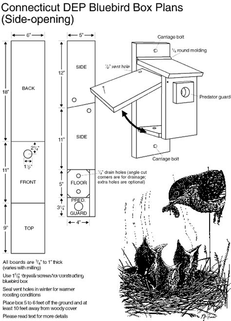 plans for bluebird house bluebird house plans hole size 187 woodworktips