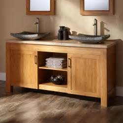 Double Trough Sinks For Bathrooms 60 Quot Jindra Bamboo Double Vessel Sink Vanity Bathroom