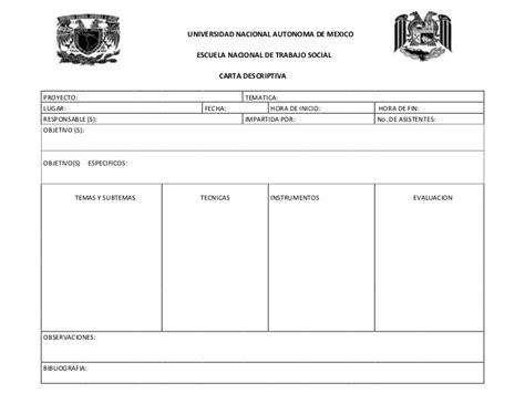 ejemplo de cartas descriptivas de educacion preescolar carta descriptiva formato