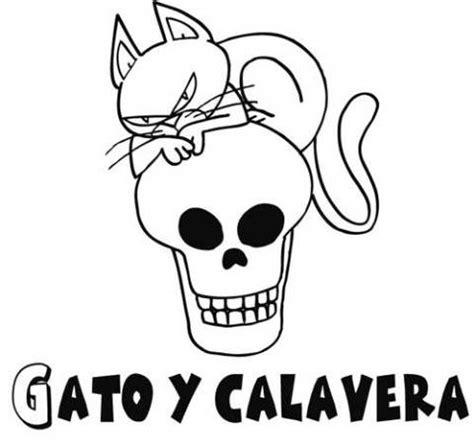 imagenes de calaveras literarias infantiles dibujo infantil de gato y calavera para pintar