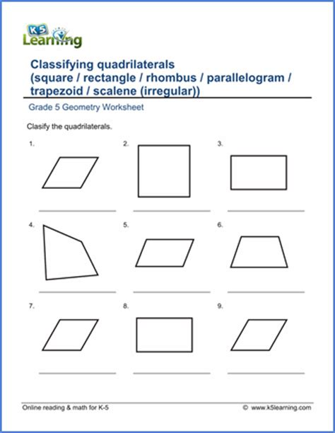 grade 5 geometry worksheets free amp printable k5 learning