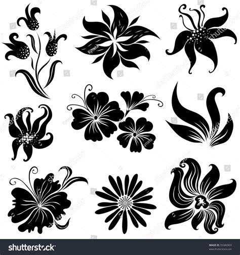 set of black flower design elements from my big quot floral