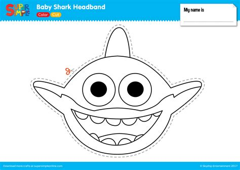 shark hat craft template baby shark headband simple