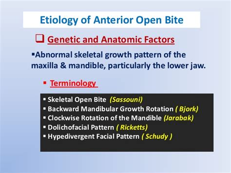 pattern classification for finding facial growth abnormalities anterior open bite etiology and differential diagnosis