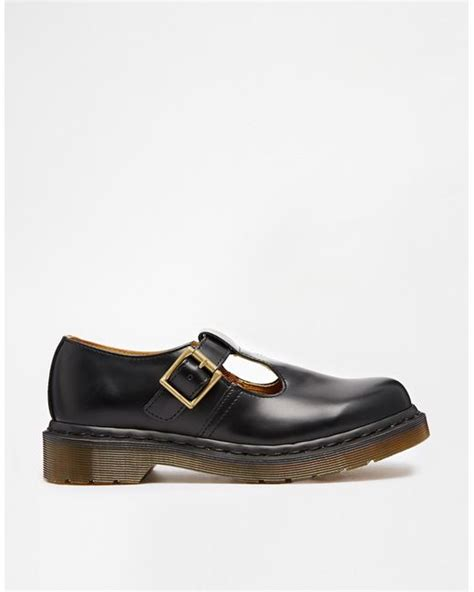dr martens black polley t bar flat shoes lyst