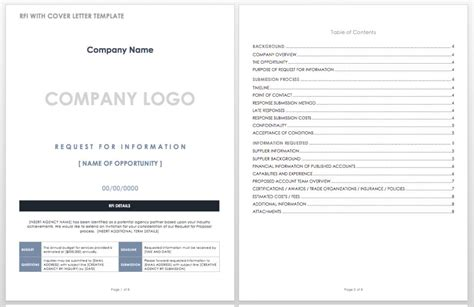 rfi response template images templates design ideas