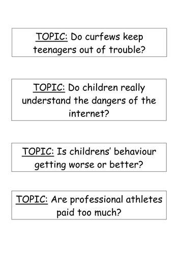 Debate Essay Topics by Debate Topics For Speaking Listening By Sazo123