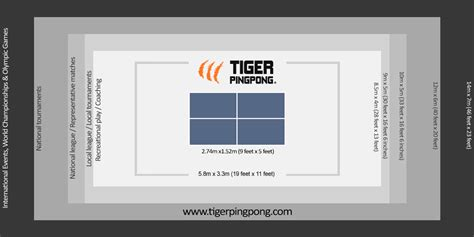 ping pong table area tiger pingpong room size chart