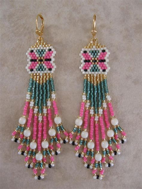 seed bead beadwoven earrings free shipping sagegreen pink