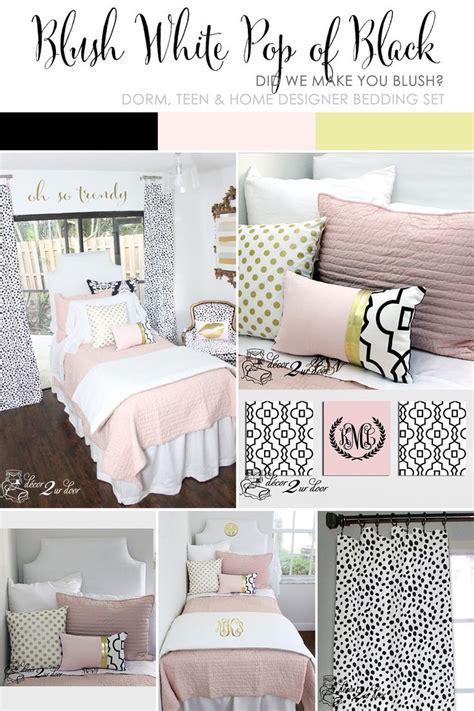 college dorm bedding sets blush pink white a pop of black designer dorm bedding