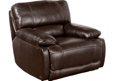 brown leather chair recliner cindy crawford home auburn hills brown leather power