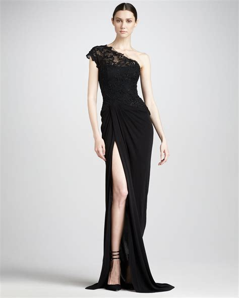 Moniq Dress Black lyst lhuillier lacebodice jersey gown in black