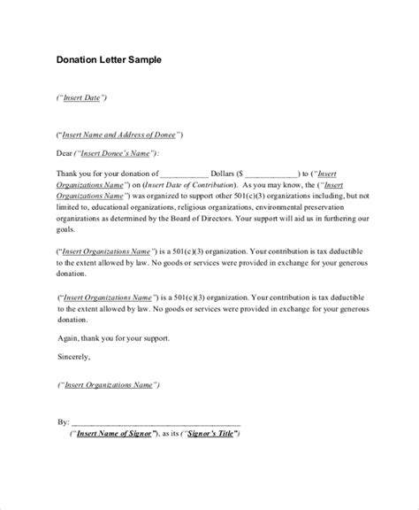 letter of receipt template sle donation receipt letter 7 documents in pdf word