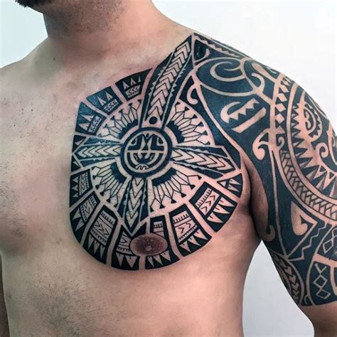 chest shoulder tribal tattoos 80 tribal shoulder tattoos for masculine design ideas