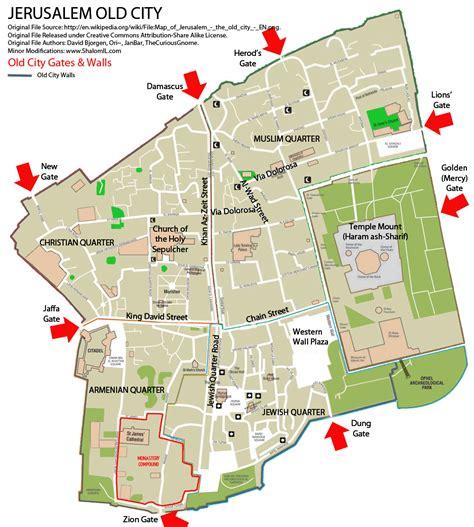 jerusalem city map jerusalem city gates walls map the city of