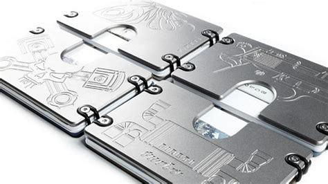 omega titanium wallet holds and cards between metal