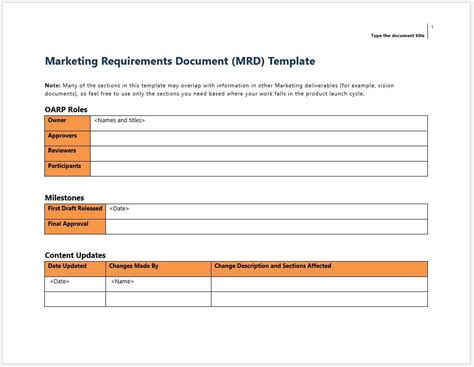 Marketing Requirements Document Mrd Template And Worksheet Clickstarters Mrd Document Template