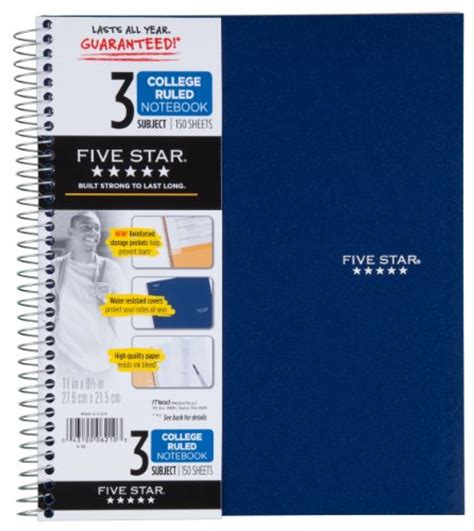 mead five star fat lil notebook 200 ruled sheets 400