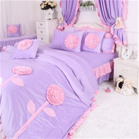 Pink And Purple Bedding Sets Korean Purple Pink Floral Bedding Set Lavender Coral Velvet Bedding Set Bedding Sets