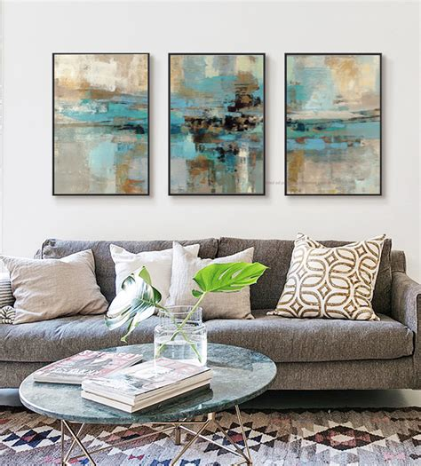 living room canvas 3 piece oil paintings on canvas turquoise paintings