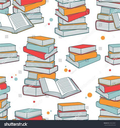 seamless pattern books pile books hand drawn seamless pattern stock vector