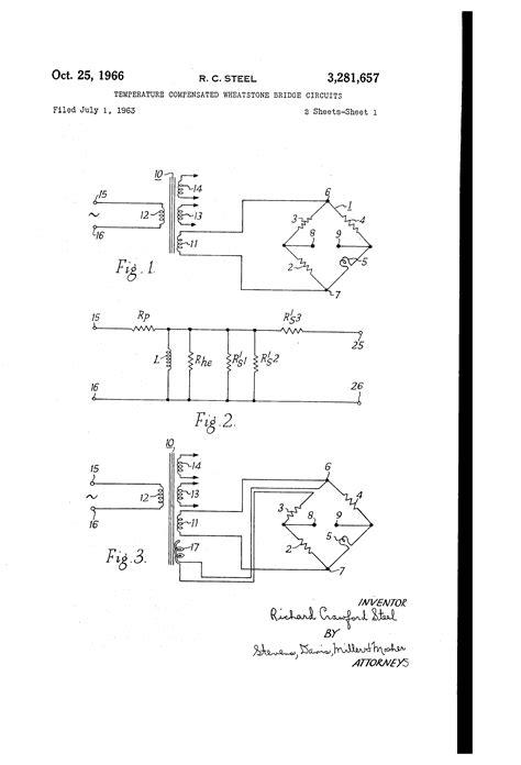 wheatstone bridge hydraulic circuit patent us3281657 temperature compensated wheatstone