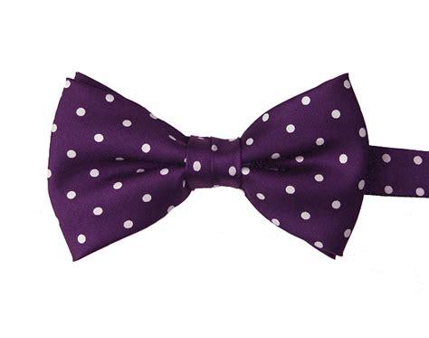Polka Dot Bow Tie purple white polka dot pre silk bow tie